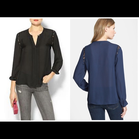 eb3754ff9 Joie Tops | Black Keyanna Lace Inset Silk Blouse 006 | Poshmark